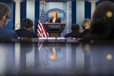 Joe Biden, White House, The White Photo - Jen Psaki, White House press secretary, speaks during a news conference in the James S. Brady Press Briefing Room at the White House in Washington, D.C., U.S., on Wednesday, April 21, 2021. President Joe Biden told a group of lawmakers he plans to propose a temporary extension of the child tax credit, saying that a permanent expansion could be difficult the pass the Senate. Credit: Sarah Silbiger / Pool via CNP/AdMedia