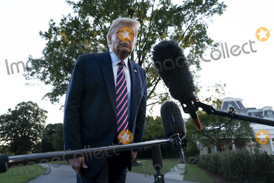 White House, The White Photo - United States President Donald J. Trump speaks to reporters as he departs the White House for a rally in Pennsylvania, on Tuesday, September 22, 2020 in Washington DC.       