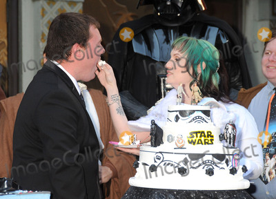 "TCL Chinese Theatre, Andrew Porters, Caroline Ritter Photo - 17 December 2015 - Hollywood, California - Andrew Porters, Caroline Ritter. Fans Get Married With ""Star Wars"" Themed Wedding held at the TCL Chinese Theatre IMAX. Photo Credit: Byron Purvis/AdMedia"