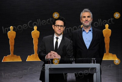 Alfonso Cuaron, J J Abrams, J. J. Abrams, JJ Abrams, J.J. Abrams, J.J Abrams Photo - 15 January 2015 - Los Angeles, California - J.J. Abrams, Alfonso Cuaron. 87th Annual Academy Awards Nominations Announcements. Photo Credit: Byron Purvis/AdMedia