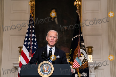Joe Biden, White House, The White Photo - President Joe Biden delivers remarks on his administrations response to climate change at an event in the State Dining Room of the White House in Washington DC, January 27th, 2021. (Anna Moneymaker/NYT) Credit: Anna Moneymaker / Pool via CNP/AdMedia