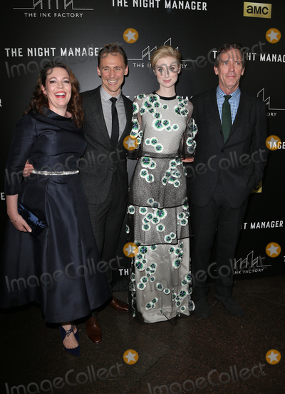 """Hugh Laurie, Tom Hiddleston, Olivia Coleman, Tom Hiddlestone, Tom   Hiddleston, Elizabeth Debicki Photo - 05 April 2016 - West Hollywood, Olivia Coleman, Tom Hiddleston, Elizabeth Debicki, Hugh Laurie. Premiere Of AMC's """"The Night Manager"""" at The DGA Theater. Photo Credit: F.Sadou/AdMedia"""