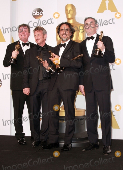 Alejandro Gonzalez Inarritu, BirdMan, Armando Bo, Alexander Dinelaris Photo - 22 February 2015 - Hollywood, California -(L-R) Writers Nicolas Giacobone, Director Alejandro Gonzalez Inarritu, Alexander Dinelaris and Armando Bo, winners of Best Original Screenplay for 'Birdman' pose  in the press room during the 87th Annual Academy Awards presented by the Academy of Motion Picture Arts and Sciences held at the Dolby Theatre. Photo Credit: Theresa Bouche/AdMedia