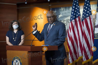 Nancy Pelosi, House Speaker Nancy Pelosi, James Clyburn, Rep. James Clyburn Photo - House Rep. James Clyburn (D-SC) offers remarks as he joins House Speaker Nancy Pelosi (D-Calif) and others during a press conference on the Trump Administration's response to, and Democrats' plan for COVID-19 testing in the House Visitors Center Studio at the U.S. Capitol in Washington, DC, Wednesday, May 27, 2020. Credit: Rod Lamkey / CNP/AdMedia