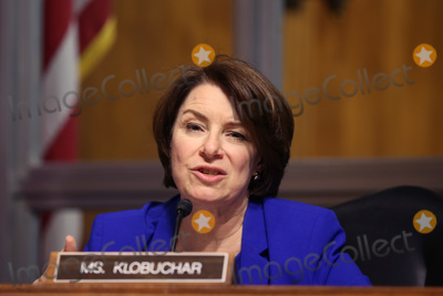 Amy Klobuchar Photo - United States Senator Amy Klobuchar (Democrat of Minnesota), asks questions during a hearing of the Senate Judiciary Subcommittee on Privacy, Technology, and the Law, at the U.S. Capitol in Washington DC, on Tuesday, April 27, 2021.  The committee will hear testimony about social media platforms' use of algorithms and amplification. Credit: Tasos Katopodis / Pool via CNP/AdMedia