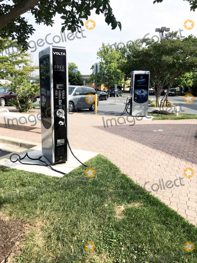 Photo - Free of charge electric car charging station in the parking lot of a Giant Food Store in Rockville, Maryland on Monday, June 7, 2021.  The concept, developed by Volta Charging, LLC, is to develop a network of advertiser-supported charging stations in the parking lots of prominent retailers to provide up to two hours of charging for cars that include the Tesla, the Chevy Bolt EV and the Hyundai Kona Electric.Credit: Ron Sachs / CNP/AdMedia
