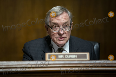 Dick Durbin Photo - United States Senator Dick Durbin (Democrat of Illinois), Chairman, US Senate Committee on the Judiciary, speaks during a hearing in Washington, D.C., U.S., on Tuesday, April 27, 2021. The hearing is examining the effect social media companies' algorithms and design choices have on users and discourse. Credit: Al Drago / Pool via CNP/AdMedia