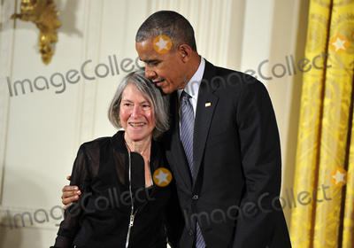 Barack Obama, President Barack Obama, White House, The White Photo - In this file photo from September 22, 2016, United States President Barack Obama presents the 2015 National Humanities Medal to Louise Glck, Poet of Cambridge, Massachusetts during a ceremony in the East Room of the White House in Washington, DC.  On October 8, 2020, the Nobel Prize announced Louise Glck was being awarded the 2020 Nobel Prize in Literature.Credit: Ron Sachs / CNP/AdMedia/AdMedia