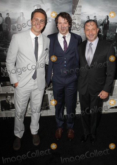 "Alan Poul, Gallagher, John Gallagher, John Gallagher Jr., John Gallagher, Jr., Thomas Sadoski Photo - 10 July 2013 - Hollywood, California - Thomas Sadoski, John Gallagher Jr., Alan Poul. Los Angeles Season 2 Premiere Of HBO's Series ""The Newsroom"" Held At Paramount Studios lot. Photo Credit: Kevan Brooks/AdMedia"
