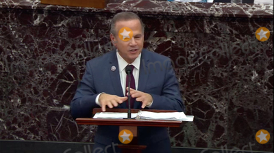 Trump Impeachment, The Used Photo - In this image from United States Senate television, US Representative David Cicilline (Democrat of Rhode Island) Manager on the Part of the US House, makes his closing argument during Day 5 of the second impeachment trial of the former president in the US Senate in the US Capitol in Washington, DC on Saturday, February 13, 2021.Mandatory Credit: US Senate TV via CNP/AdMedia