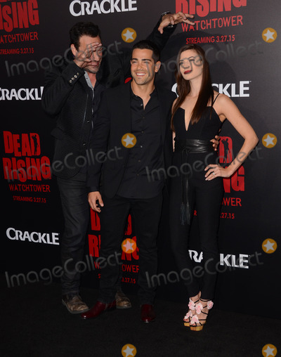 """Jesse Metcalfe, Kim Novak, Jesse Metcalf, Aleks Paunovic, Meghan Ory Photo - 11 March 2015 - Los Angeles, California - Aleks Paunovic, Jesse Metcalfe, Meghan Ory.  Arrivals for Crackle's world premiere original feature film """"Dead Rising: Watchtower"""" held at the Kim Novak Theater at Sony Pictures Studios. Photo Credit: Birdie Thompson/AdMedia"""
