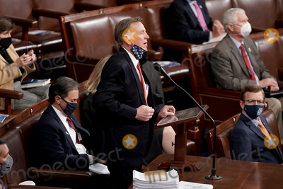 Photo - United States Representative Paul Gosar (Republican of Arizona) objects to Arizona's Electoral College certification from the 2020 presidential election during a joint session of Congress on Wednesday, January 6, 2021.Credit: Greg Nash / Pool via CNP/AdMedia