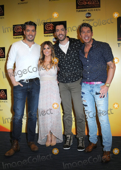 Alison Victoria, David Bromstad, Drew Scott, Jonathan Scott Photo - 12 June 2015 - Nashville, Tennessee - Jonathan Scott, Alison Victoria, Drew Scott, David Bromstad of HGTV. 2015 CMA Music Festival Nightly Press Conference held at LP Field. Photo Credit: AdMedia