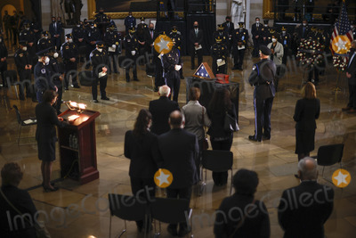 The Ceremonies, Police Officer Photo - A view of the ceremony for late Capitol Police officer Brian Sicknick as he lies in honor in the Rotunda of the U.S. Capitol in Washington, U.S. February 3, 2021. Credit: Carlos Barria / Pool via CNP/AdMedia