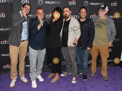 "Ben Newmark, Jameela Jamil, Joe Gatto, Dan Newmark, Brian Quinn, Andy Breckman, Joe Corré Photo - 13 September 2019 - Beverly Hills, California - (L-R) Dan Newmark, Joe Gatto, Jameela Jamil, Brian Quinn, Ben Newmark and Andy Breckman. ""The Misery Index"" at The Paley Center For Media's 13th Annual PaleyFest Fall TV Previews - TBS. Photo Credit: Billy Bennight/AdMedia"