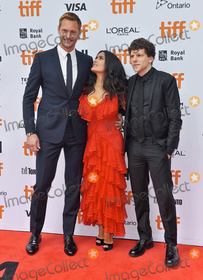 "Jesse Eisenberg, Princess of Wales, Salma Hayek, Wale, Alexander Skarsgrd Photo - 08 September 2018 - Toronto, Ontario, Canada - Alexander Skarsgrd, Salma Hayek, Jesse Eisenberg. ""The Hummingbird Project"" Premiere - 2018 Toronto International Film Festival held at the Princess of Wales Theatre. Photo Credit: Brent Perniac/AdMedia"