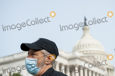 Jon Stewart, The Used Photo - Comedian Jon Stewart, talks with reporters prior to a press conference regarding legislation to assist veterans exposed to burn pits, outside the US Capitol in Washington, DC., Tuesday, September 15, 2020. Credit: Rod Lamkey / CNP/AdMedia