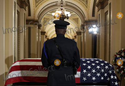"Elijah Cummings, The Used, Alex Wong Photo - An honor guard stands next to the flag-draped casket of United States Representative Elijah Cummings (Democrat of Maryland) as the late congressman lies in state outside the US House chamber at the U.S. Capitol October 24, 2019 in Washington, DC. Rep. Cummings passed away on October 17, 2019 at the age of 68 from ""complications concerning longstanding health challenges.""  