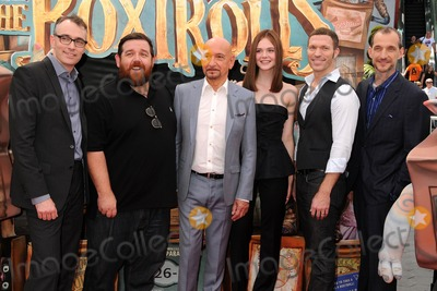 """Ben Kingsley, Elle Fanning, Nick Frost, Travis Knight, Anthony Stacchi, Graham Annable Photo - 21 September 2014 - Universal City, California - Graham Annable, Nick Frost, Ben Kingsley, Elle Fanning, Travis Knight, Anthony Stacchi. """"The Boxtrolls"""" Los Angeles Premiere held at Universal CityWalk. Photo Credit: Byron Purvis/AdMedia"""