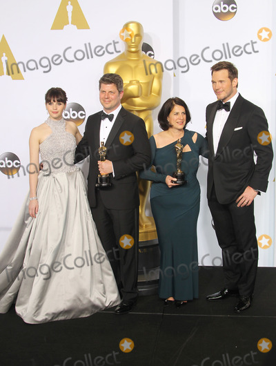 Chris Pratt, Felicity Jones, Adam Stockhausen, Anna Pinnock Photo - 22 February 2015 - Hollywood, California - Felicity Jones, Adam Stockhausen, Anna Pinnock, Chris Pratt. 87th Annual Academy Awards presented by the Academy of Motion Picture Arts and Sciences held at the Dolby Theatre. Photo Credit: F. Sadou/AdMedia