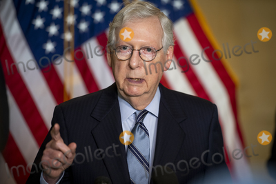 Photo - United States Senate Minority Leader Mitch McConnell (Republican of Kentucky) offers remarks following the Senate Republican luncheon Russell Senate Office Building in Washington, DC, Tuesday, April 20, 2021. Credit: Rod Lamkey / CNP