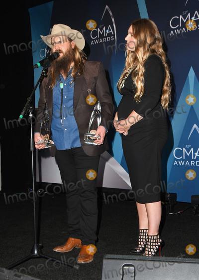 CMA Award, Chris Stapleton, Morgane Stapleton Photo - 08 November 2017 - Nashville, Tennessee - Chris Stapleton and Morgane Stapleton. 51st Annual CMA Awards, Country Music's Biggest Night, held at Bridgestone Arena. Photo Credit: Laura Farr/AdMedia