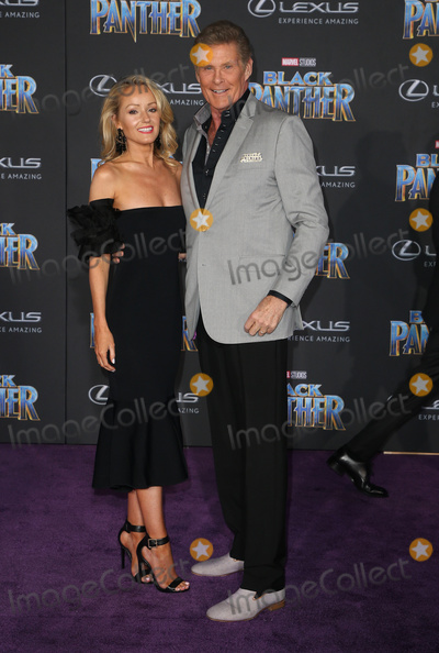 "David Hasselhoff, Hayley Roberts, Black Panther Photo - 29 January 2018 - Hollywood, California - David Hasselhoff, Hayley Roberts. Marvel Studios' ""Black Panther"" World Premiere held at Dolby Theater. Photo Credit: F. Sadou/AdMedia"