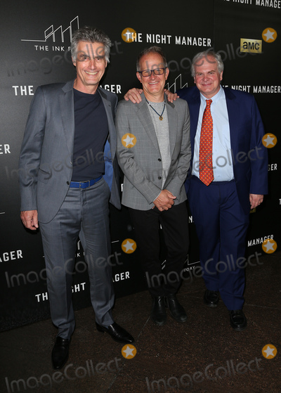 """Photo - 05 April 2016 - West Hollywood, Stephen Garrett, Simon Cornwell and Stephen Cornwell. Premiere Of AMC's """"The Night Manager"""" at The DGA Theater. Photo Credit: F.Sadou/AdMedia"""