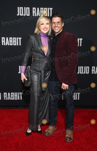 "Adrienne Frantz, JoJo, Scott Bailey Photo - 15 October 2019 - Los Angeles, California - Adrienne Frantz, Scott Bailey. Premiere Of Fox Searchlights' ""Jojo Rabbit"" held at Post 43. Photo Credit: FayeS/AdMedia"