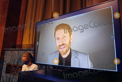 Photo - Tristan Harris, President of the Center for Humane Technology, makes an opening statement during a hearing of the Senate Judiciary Subcommittee on Privacy, Technology, and the Law, at the U.S. Capitol in Washington DC, on Tuesday, April 27, 2021.  The committee will hear testimony about social media platforms' use of algorithms and amplification.Credit: Tasos Katopodis / Pool via CNP/AdMedia