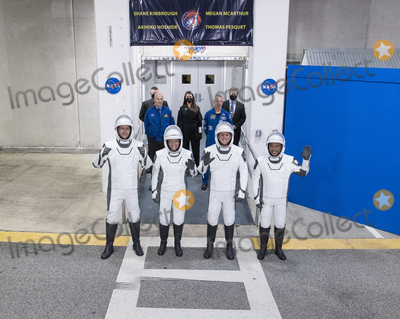 Kennedy, The Interns Photo - From left to right, ESA (European Space Agency) astronaut Thomas Pesquet, NASA astronauts Megan McArthur and Shane Kimbrough, and Japan Aerospace Exploration Agency (JAXA) astronaut Akihiko Hoshide, wearing SpaceX spacesuits, are seen as they prepare to depart the Neil  A. Armstrong Operations and Checkout Building for Launch Complex 39A to board the SpaceX Crew Dragon spacecraft for the Crew-2 mission launch, Friday, April 23, 2021, at NASAs Kennedy Space Center in Florida. NASAs SpaceX Crew-2 mission is the second crew rotation mission of the SpaceX Crew Dragon spacecraft and Falcon 9 rocket to the International Space Station as part of the agencys Commercial Crew Program. Kimbrough, McArthur, Pesquet, and Hoshide are scheduled to launch at 5:49 a.m. EDT.  Mandatory Credit: Aubrey Gemignani / NASA via CNP/AdMedia