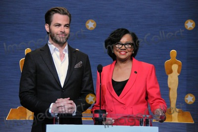 Chris Pine Photo - 15 January 2015 - Los Angeles, California - Chris Pine, Cheryl Boone Isaacs. 87th Annual Academy Awards Nominations Announcements. Photo Credit: Byron Purvis/AdMedia