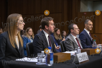 """The Unit, Derek Slater, Monika Bickert, George Selim, Nick Pickles Photo - From left to right: Monika Bickert, Head of Global Policy Management, Facebook; Nick Pickles, Public Policy Director, Twitter; Derek Slater, Global Director of Information Policy, Google and George Selim, Senior Vice President of Programs, Anti-Defamation League testify before the United States Senate Committee on Commerce, Science and Transportation on """"Mass Violence, Extremism, and Digital Responsibility"""" on Capitol Hill in Washington, DC on Wednesday, September 18, 2019. Photo Credit: Ron Sachs/CNP/AdMedia"""