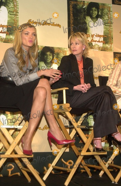 Esther Canadas, Melanie Griffith, Melanie Griffiths Photo - Esther Canadas and Melanie Griffith at the Sabera Foundation Press Conference, helping children and wives in India who have been abandoned, CAA, Beverly Hills, CA 10-10-02