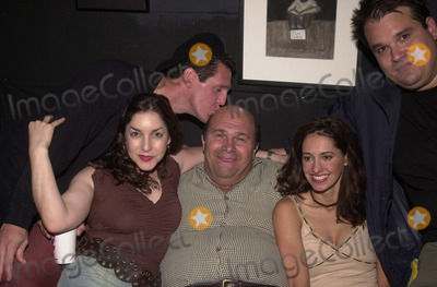 """James McBride, Angela Pupello, Robert Costanzo, Charlene Amola, Mel Rodriguez, Mel Tormé Photo - James McBride, Angela Pupello, Robert Costanzo, Charlene Amola and Mel Rodriguez at the afterparty for the opening of the play """"West Of Brooklyn,""""  Space Theater, Los Angeles, 07-06-02"""