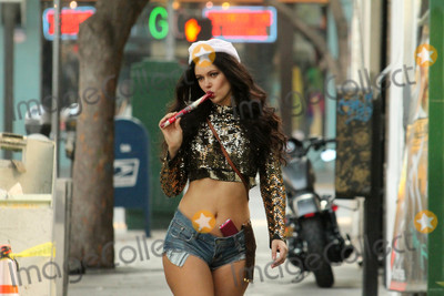 """Jamie Foxx, Natasha Blasick, Allstar Weekend, Jamie Salé Photo - Natasha Blasick the Ukranian Actress, who appears in the upcoming Jamie Foxx film """"All-Star Weekend,"""" is spotted shoipping in a Santa Hat and tiny shorts which have a candy-can holster, Hollywood, CA 12-17-17"""