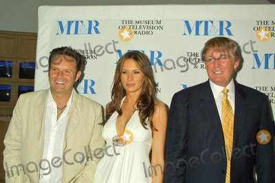 "Mark Burnett, Melania Knauss, Donald Trump, The Producers Photo - Mark Burnett, Melania Knauss and Donald Trump at the Conversation with the Producers of ""The Apprentice"" at the Museum of Television & Radio, Beverly Hills, CA. 09-20-04"