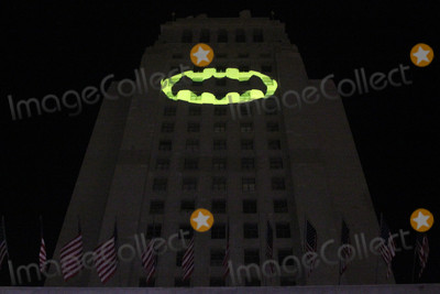 Adam West, Angel City Photo - Batsignal at the Bat Signal Lighting Ceremony to honor Adam West, Los Angeles City Hall, Los Angeles, CA 06-15-17