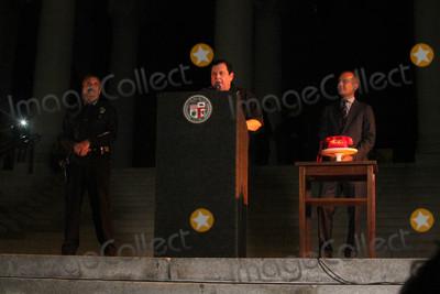 Adam West, Angel City, Beck, Burt Ward, Eric Garcetti, Charlie Beck Photo - Charlie Beck, Burt Ward, Eric Garcetti at the Bat Signal Lighting Ceremony to honor Adam West, Los Angeles City Hall, Los Angeles, CA 06-15-17
