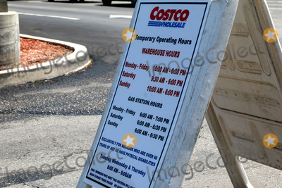 San Bernardino Photo - LOS ANGELES - APR 11:  CostCo Gas Temporary Hours Signage at the Businesses reacting to COVID-19 at the Hospitality Lane on April 11, 2020 in San Bernardino, CA