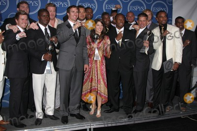 Drew Brees, Jeremy Shockey, Reggie Bush Photo - LOS ANGELES - JUL 14:  Reggie Bush, Jeremy Shockey and Drew Brees pose along with members of the New Orleans Saints after winning the ESPY for Best Team in the Press Room of the 2010 ESPY Awards at Nokia Theater - LA Live on July14, 2010 in Los Angeles, CA