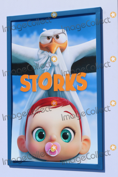"""Photo - LOS ANGELES - SEP 17:  Storks Poster at the """"Storks"""" Premiere at the Village Theater on September 17, 2016 in Westwood, CA"""