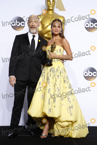 J K Simmons, J. K. Simmons, J.K. Simmons, The 88, JK Simmons, Alicia Vikander, J.K Simmons Photo - LOS ANGELES - FEB 28:  J.K. Simmons, Alicia Vikander at the 88th Annual Academy Awards - Press Room at the Dolby Theater on February 28, 2016 in Los Angeles, CA