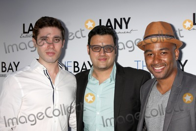 "Andrew Gregory, Gregori J Martin, Gregori J. Martin, J. Martin, Derrell Whitt, Kristos Andrews, Kristos Andrew Photo - LOS ANGELES - AUG 4:  Kristos Andrews, Gregory J Martin, Derrell Whitt at the ""The Bay"" Red Carpet Extravaganza at the Open Air Kitchen + Bar on August 4, 2014 in West Hollywood, CA"