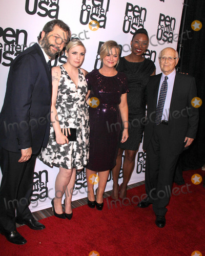 Aisha Tyler, Amy Poehler, Judd Apatow, Lena Dunham, Norman Lear Photo - LOS ANGELES - NOV 11:  Lena Dunham, Judd Apatow, Amy Poehler, Aisha Tyler, Norman Lear at the PEN Center USA 24th Annual Literary Awards at the Beverly Wilshire Hotel on November 11, 2014 in Beverly Hills, CA