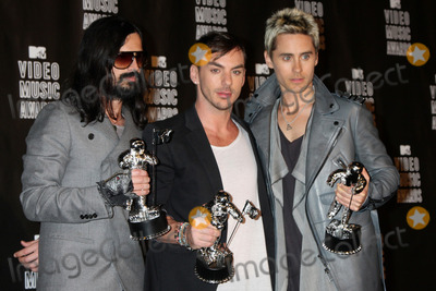 Jared Leto, Shannon Leto, 30 Seconds to Mars Photo - LOS ANGELES - SEP 12:  Tomo Milicevich, Shannon Leto and Jared Leto of 30 Seconds to Mars in the Press Room  at the 2010 MTV Video Music Awards  at Nokia - LA Live on September 12, 2010 in Los Angeles, CA