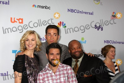 Christopher Lawrence, Gomez, Joshua Gomez, Mark Christopher, Yvonne Strahovski, Zach Levi, Mark CHRISTOPHE Lawrence Photo - LOS ANGELES - AUG 1:  Yvonne Strahovski, Zach Levi, Mark Christopher Lawrence, Joshua Gomez (front) arriving at the NBC TCA Summer 2011 Party at SLS Hotel on August 1, 2011 in Los Angeles, CA