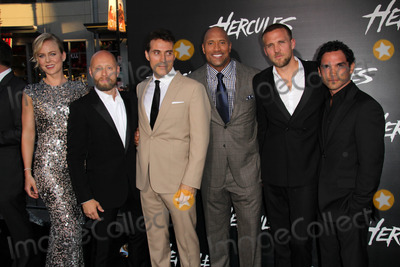 """Dwayne Johnson, Reece Ritchie, Rufus Sewell, Aksel Hennie, Tobias Santelmann Photo - LOS ANGELES - JUL 23:  Ingrid Bols Berdal, Aksel Hennie, Rufus Sewell, Dwayne Johnson, Tobias Santelmann, Reece Ritchie at the """"Hercules"""" Los Angeles Premiere at the TCL Chinese Theater on July 23, 2014 in Los Angeles, CA"""