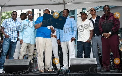 Bobbi Brown, Bobby Brown, Devo, Johnny Gill, Michael Bivins, Michael Nutter, New Edition, Ralph Tresvant, Ricky Bell Photo - PHILADELPHIA, PA - JUNE 28: (L to R) Ricky Bell, Ralph Tresvant, Mayor Michael Nutter, Bobby Brown, Michael Bivins, Ronnie DeVoe, and Johnny Gill of American R&B Group New Edition Celebrates The Liberty Bell Award at The Liberty Block Party on June 28, 2014 in Philadelphia, Pennsylvania. (Photo by Paul J. Froggatt/FamousPix)