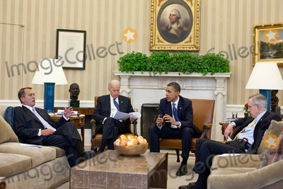 Barack Obama, Harry Reid, Joe Biden, President Barack Obama, Vice President Joe Biden, White House Photo - United States President Barack Obama and Vice President Joe Biden meet with U.S. House Speaker John Boehner (Republican of Ohio), left, and U.S. Senate Majority Leader Harry Reid (Democrat of Nevada) in the Oval Office to discuss ongoing budget negotiations on a funding bill, April 7, 2011. Photo by Pete Souza/White House/CNP-PHOTOlink.net